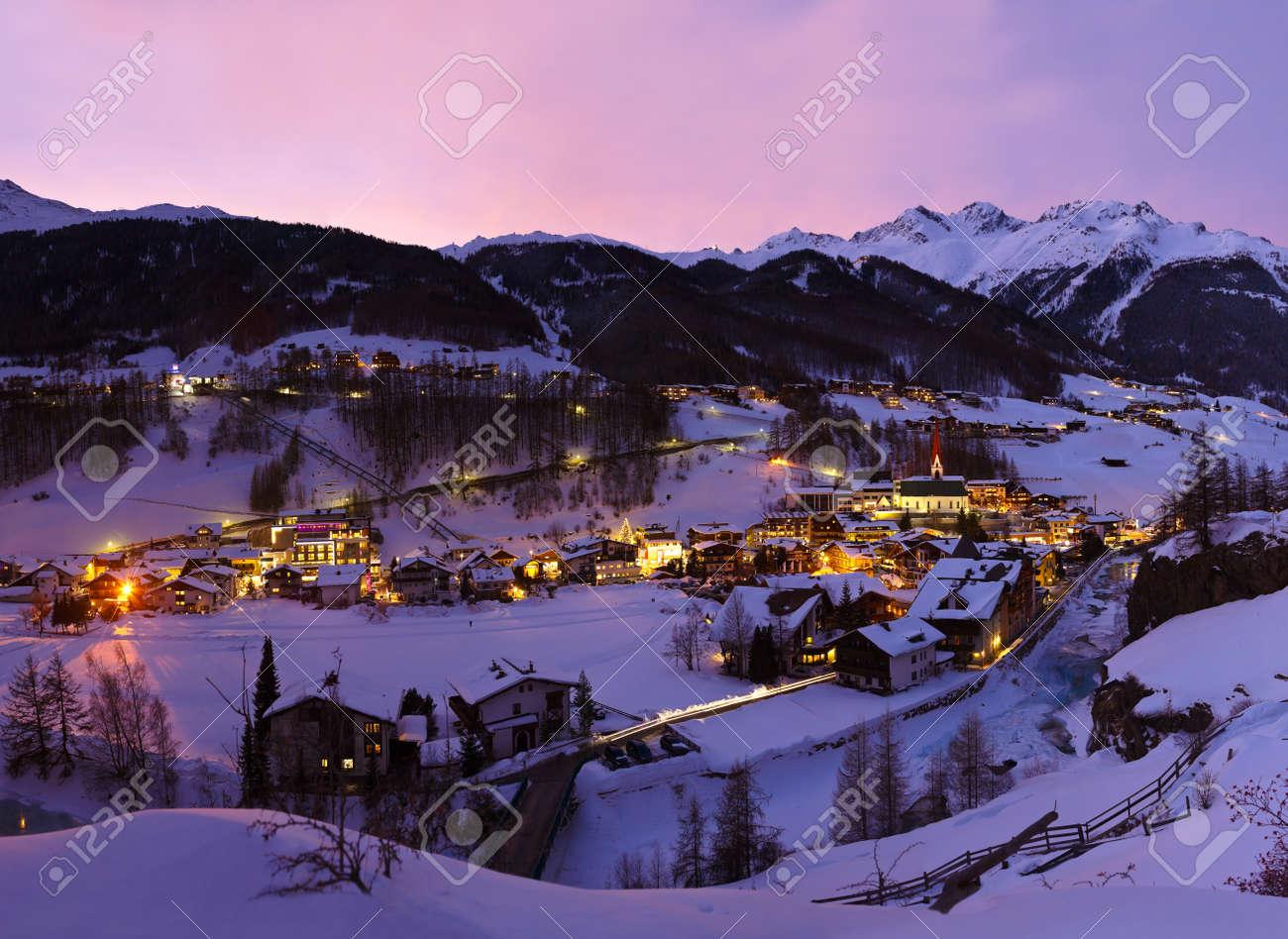 Mountains ski resort Solden Austria - nature and architecture background Stock Photo - 15726224