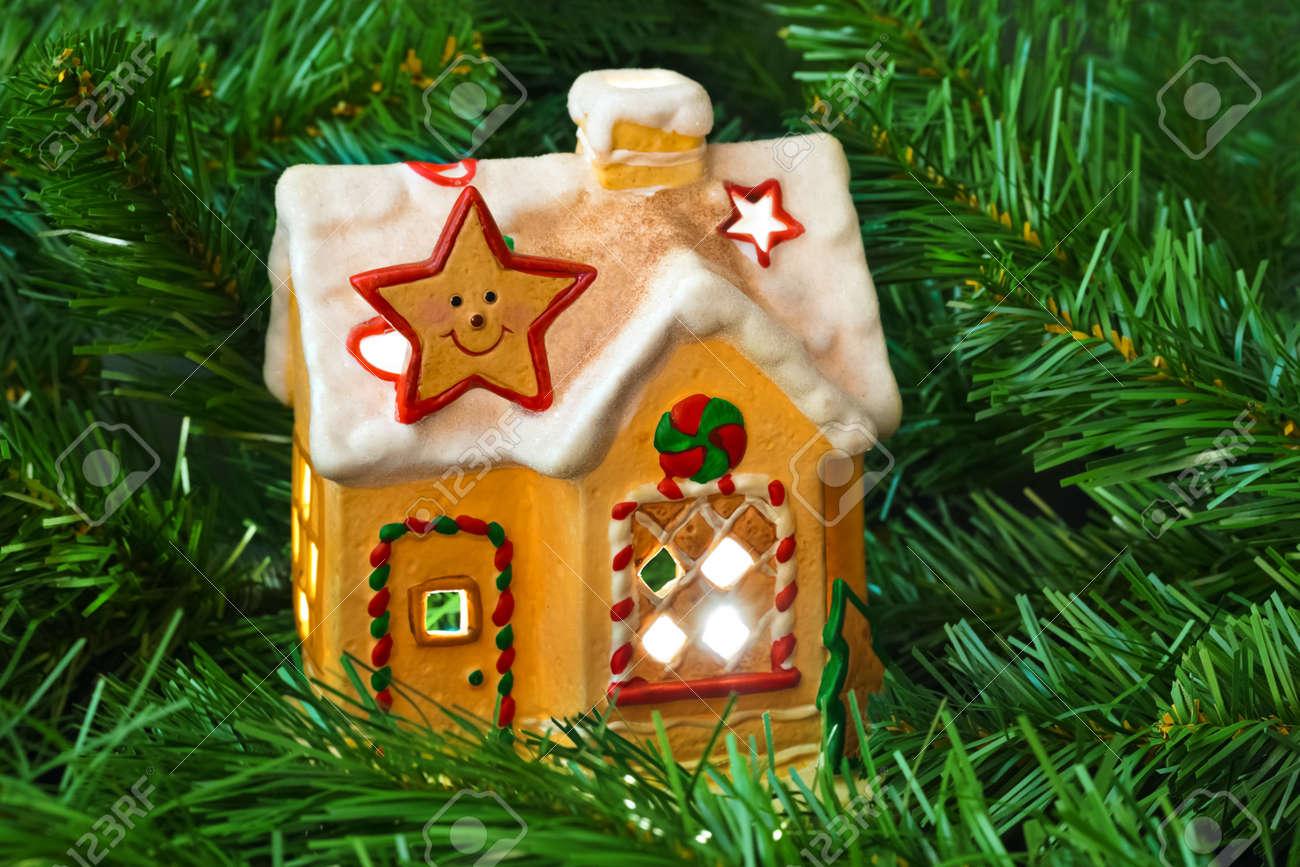 Lighting house and christmas tree - abstract holiday background Stock Photo - 15752185