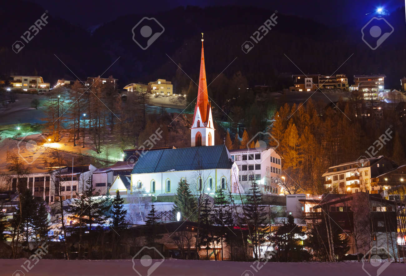 Mountains ski resort Solden Austria - nature and architecture background Stock Photo - 16080360