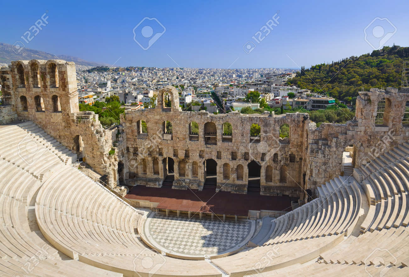 The Odeon Theatre At Athens Greece View From Acropolis Stock Photo Picture And Royalty Free Image Image 16083825