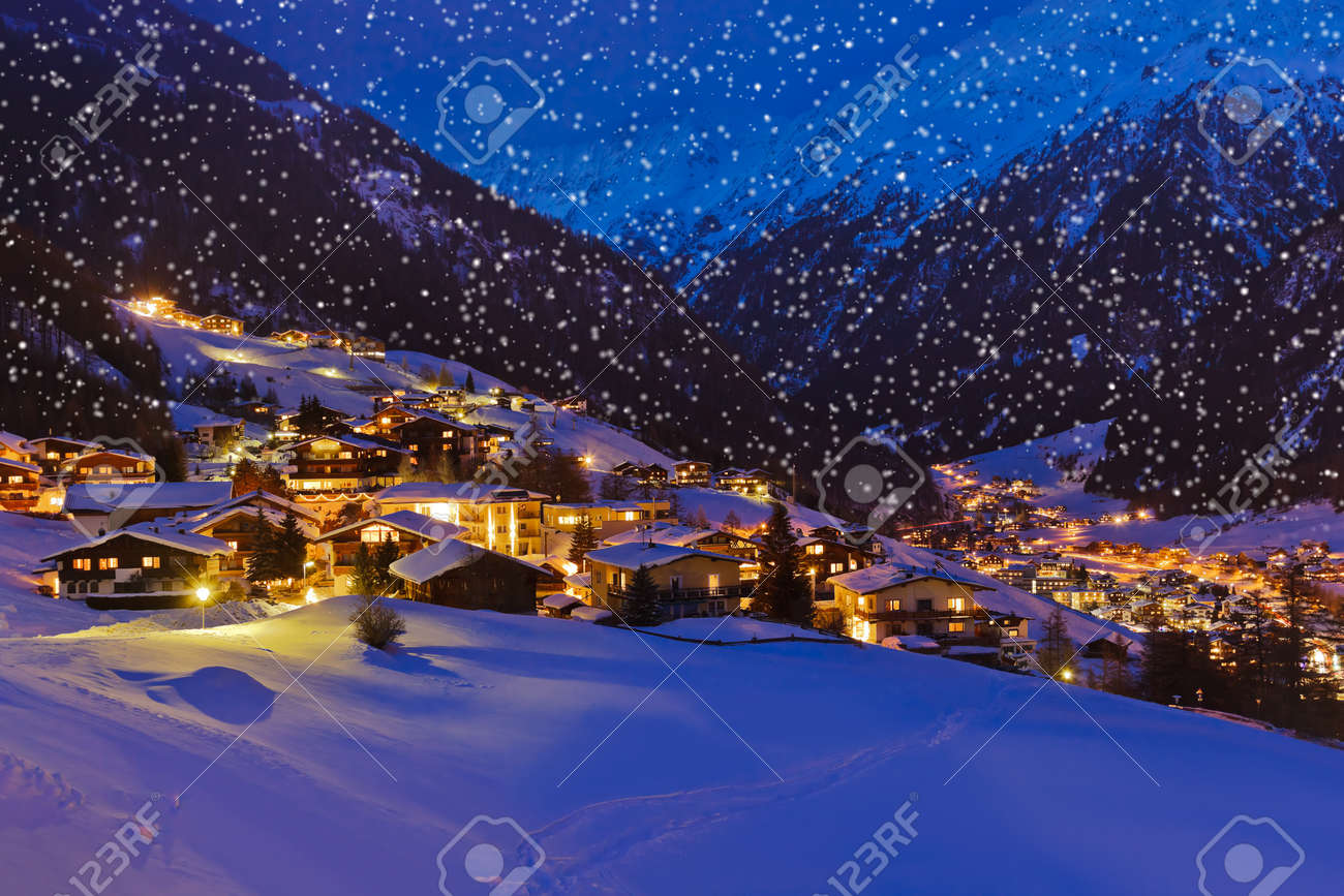 Mountains ski resort Solden Austria - nature and architecture background Stock Photo - 16263273