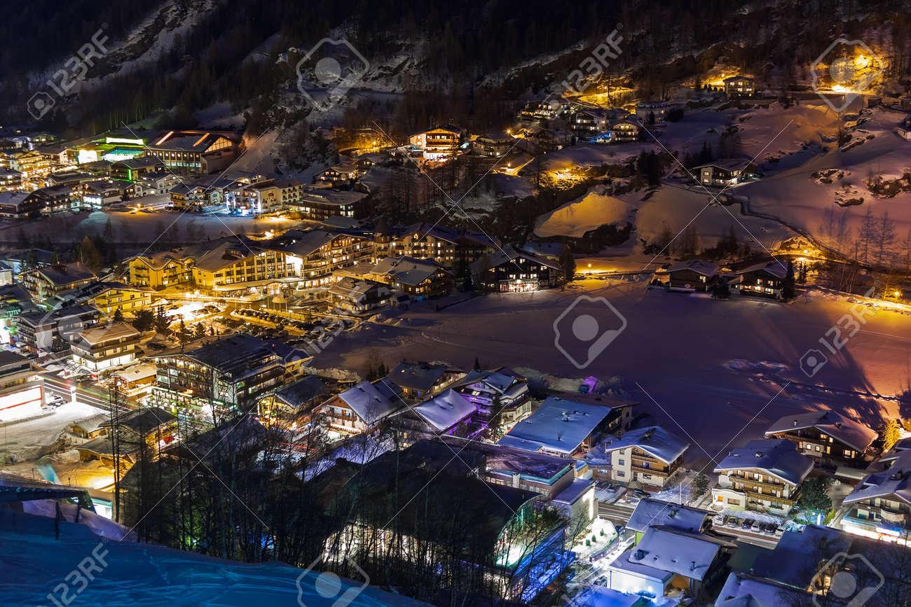 Mountains ski resort Solden Austria - nature and architecture background Stock Photo - 16376491
