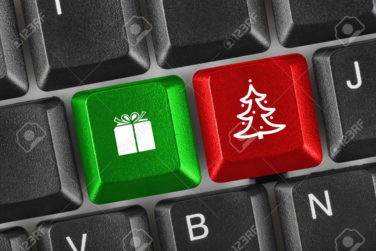 Computer keyboard with Christmas keys - holiday concept Stock Photo - 16545763