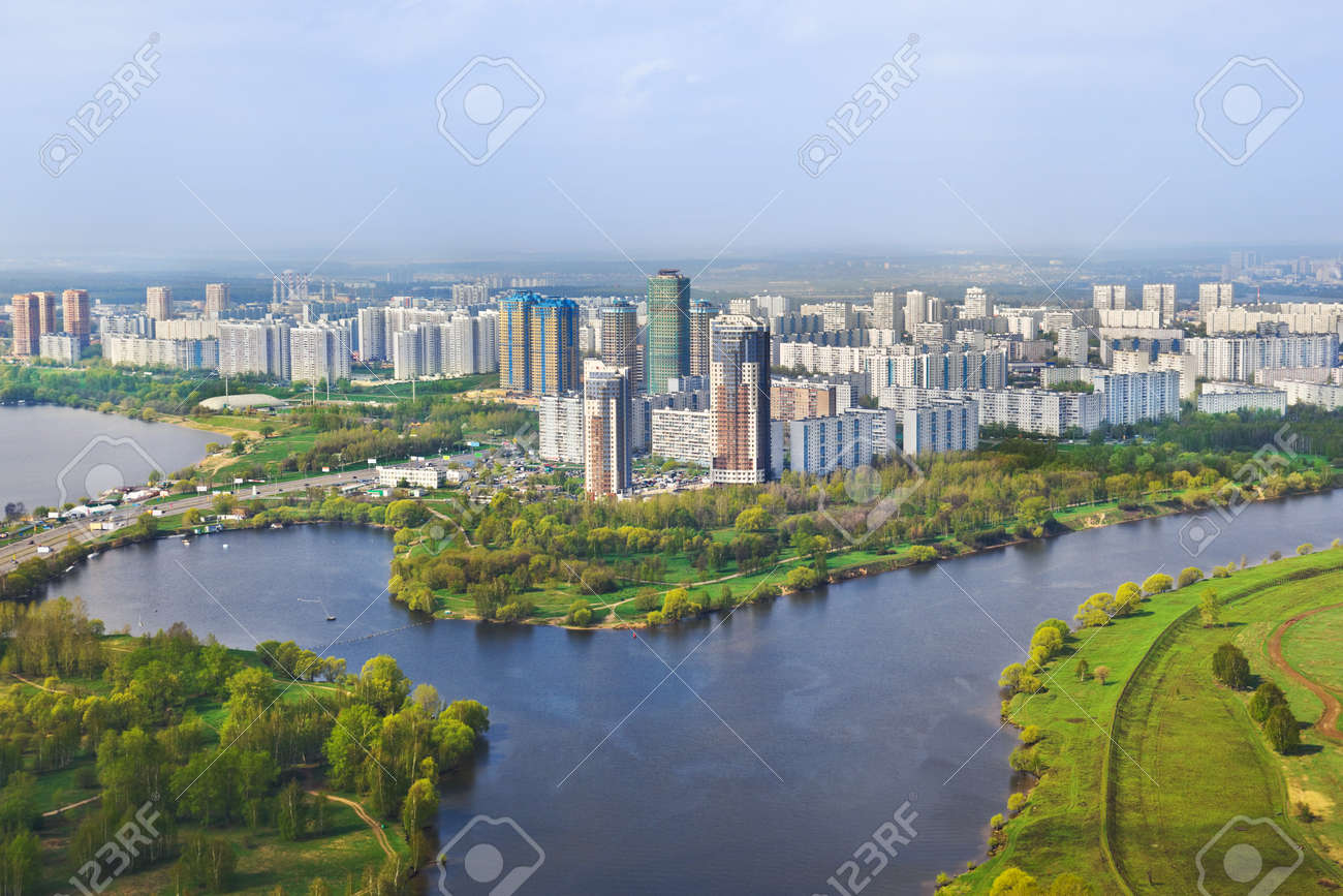 Houses in Moscow, Russia - aerial view Stock Photo - 19021937