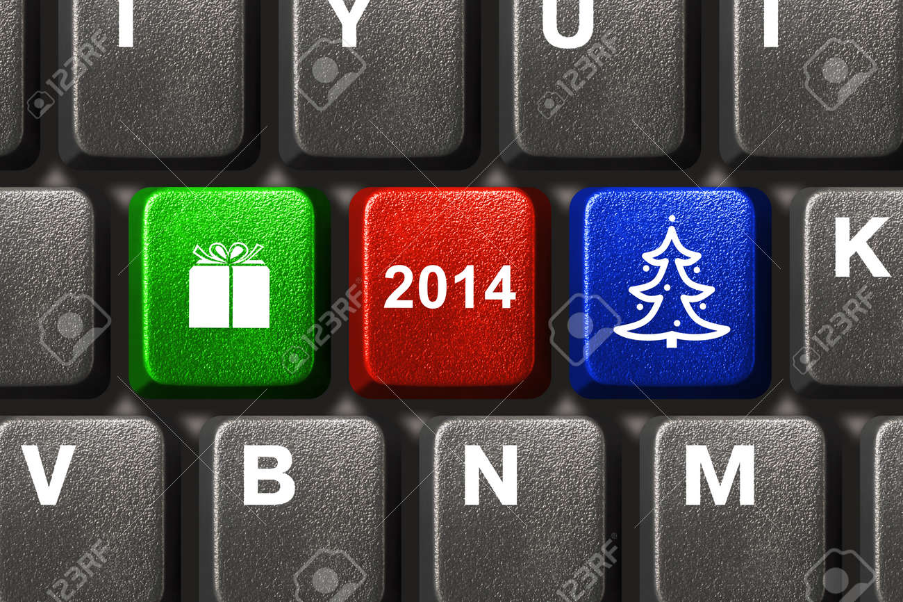 Computer keyboard with Christmas keys - holiday concept Stock Photo - 23456825