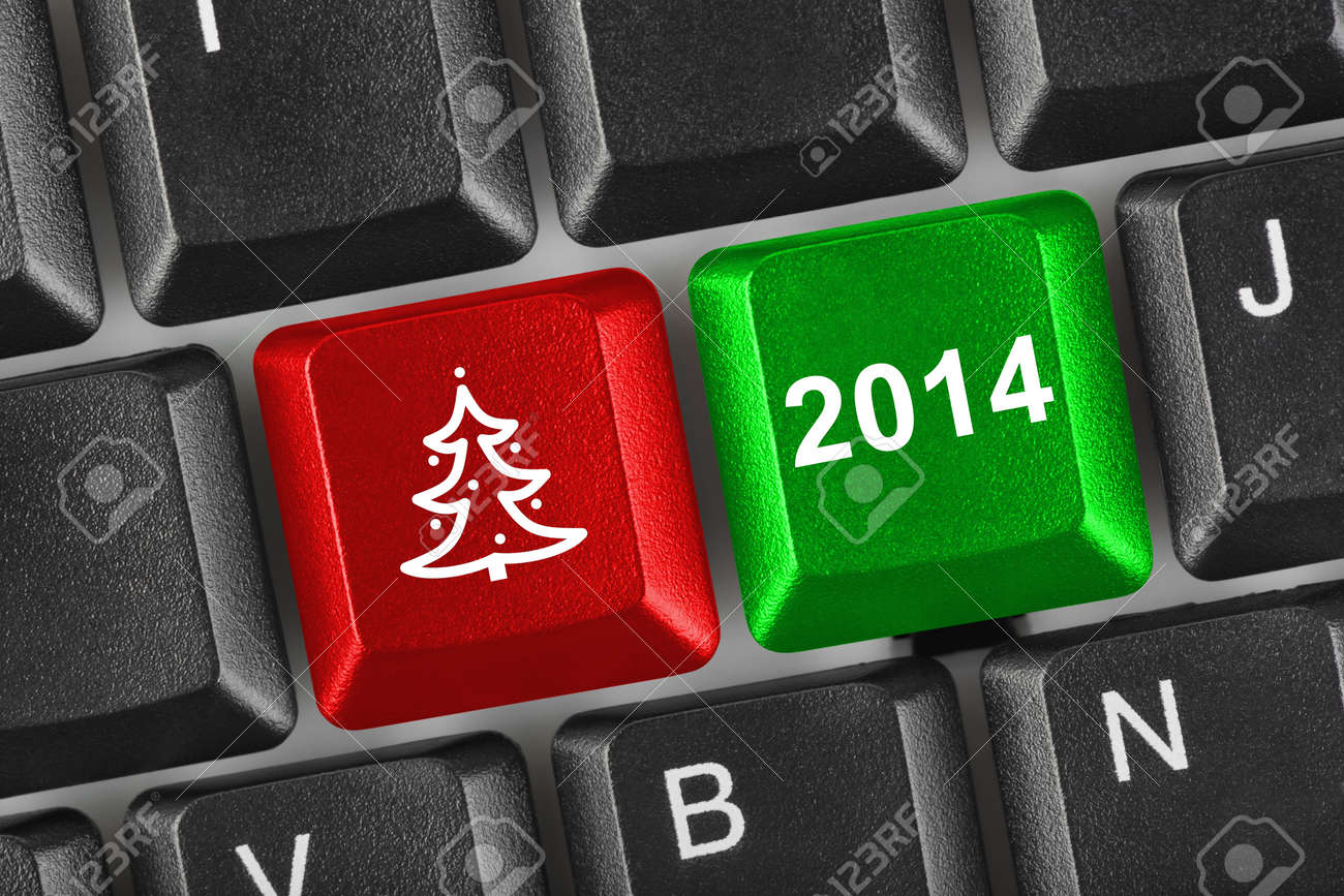 Computer keyboard with Christmas keys - holiday concept Stock Photo - 23874755