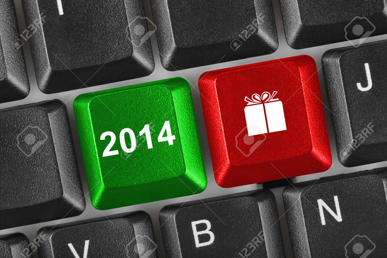 Computer keyboard with 2014 keys - holiday concept Stock Photo - 24254203