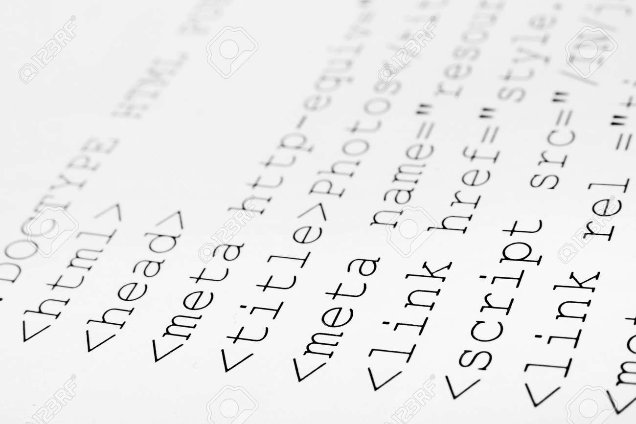 Background image html code - Printed Internet Html Code Computer Technology Background Stock Photo 30440332
