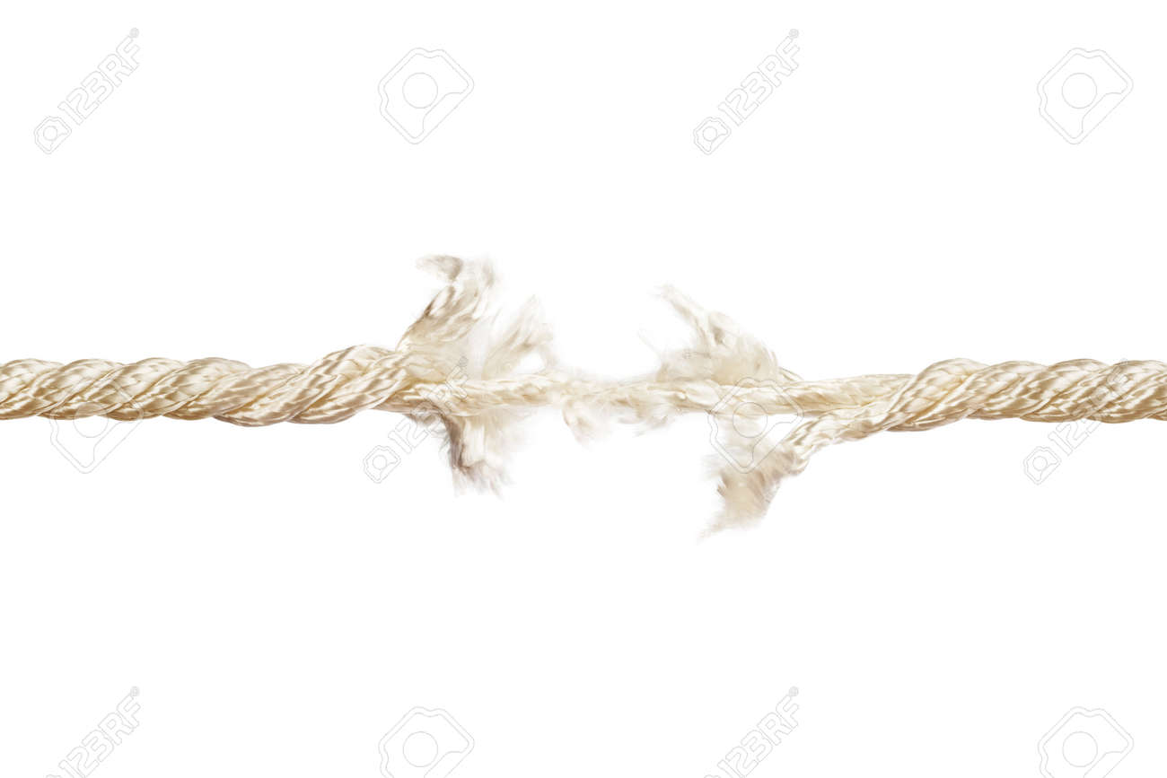 Breaking Rope Isolated On White Stock Photo, Picture And Royalty ...