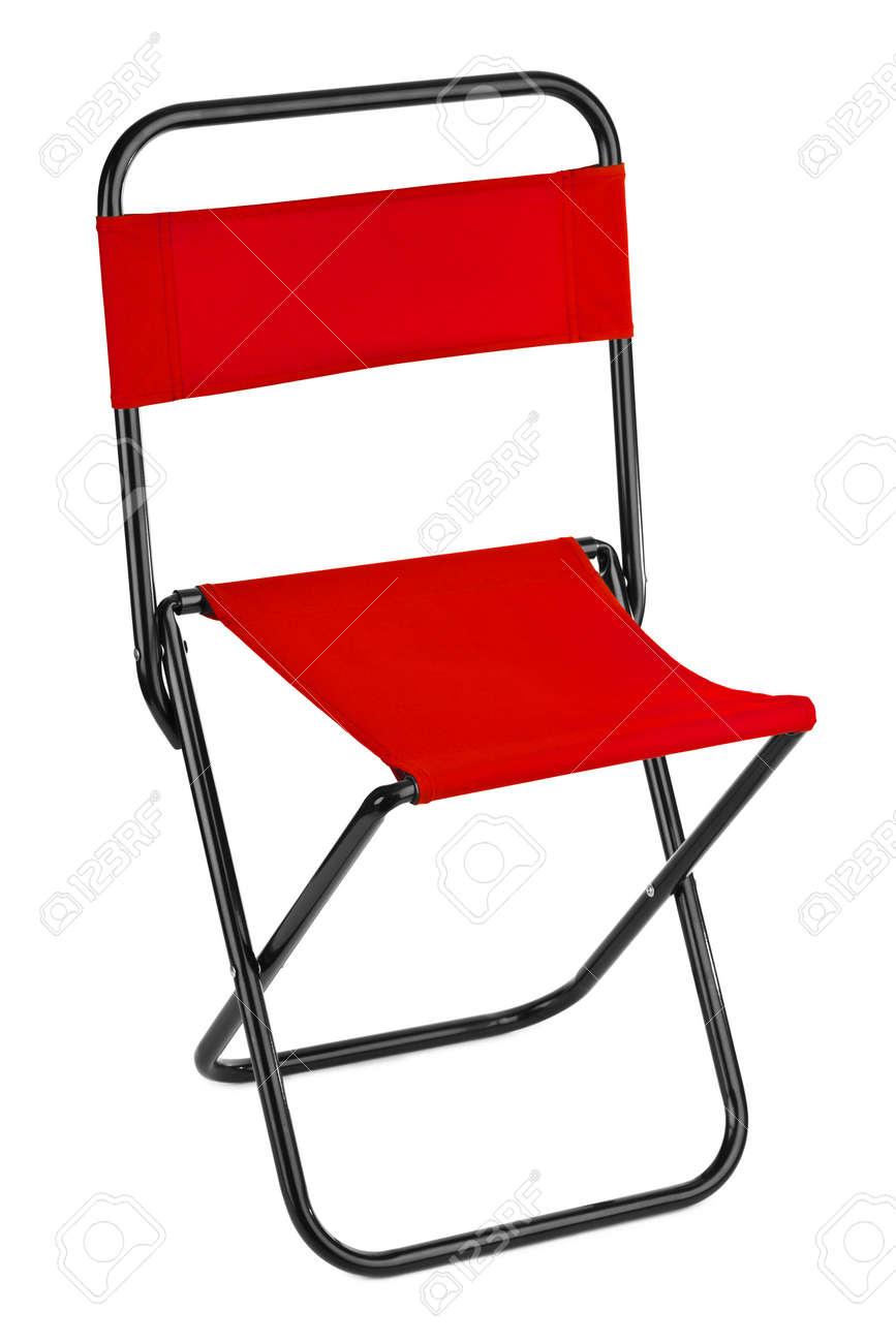 Chaise Pliante Rouge Isole Sur Fond Blanc Banque DImages Et Photos