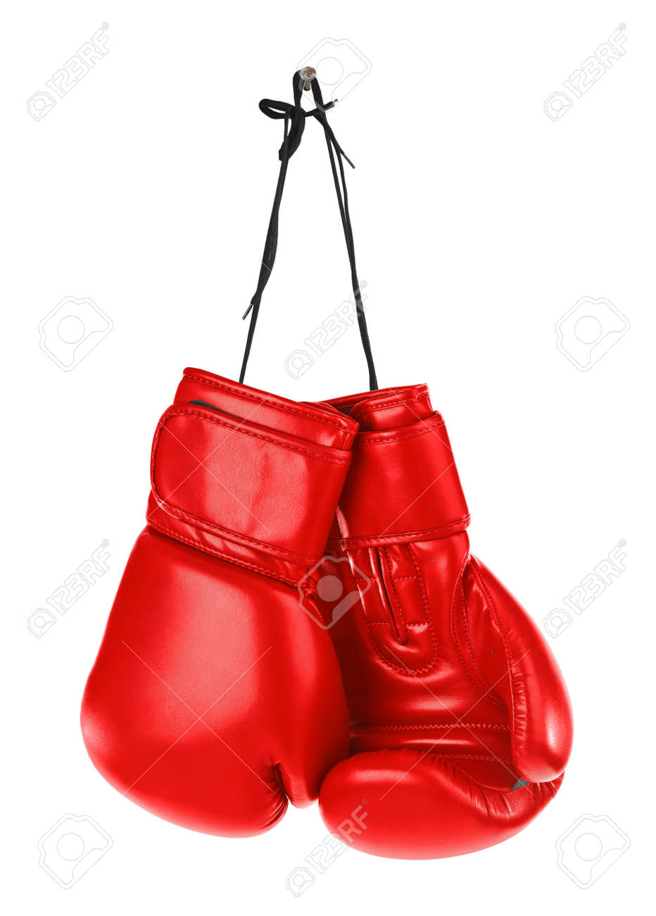 Hanging boxing gloves isolated on white background - 38412492