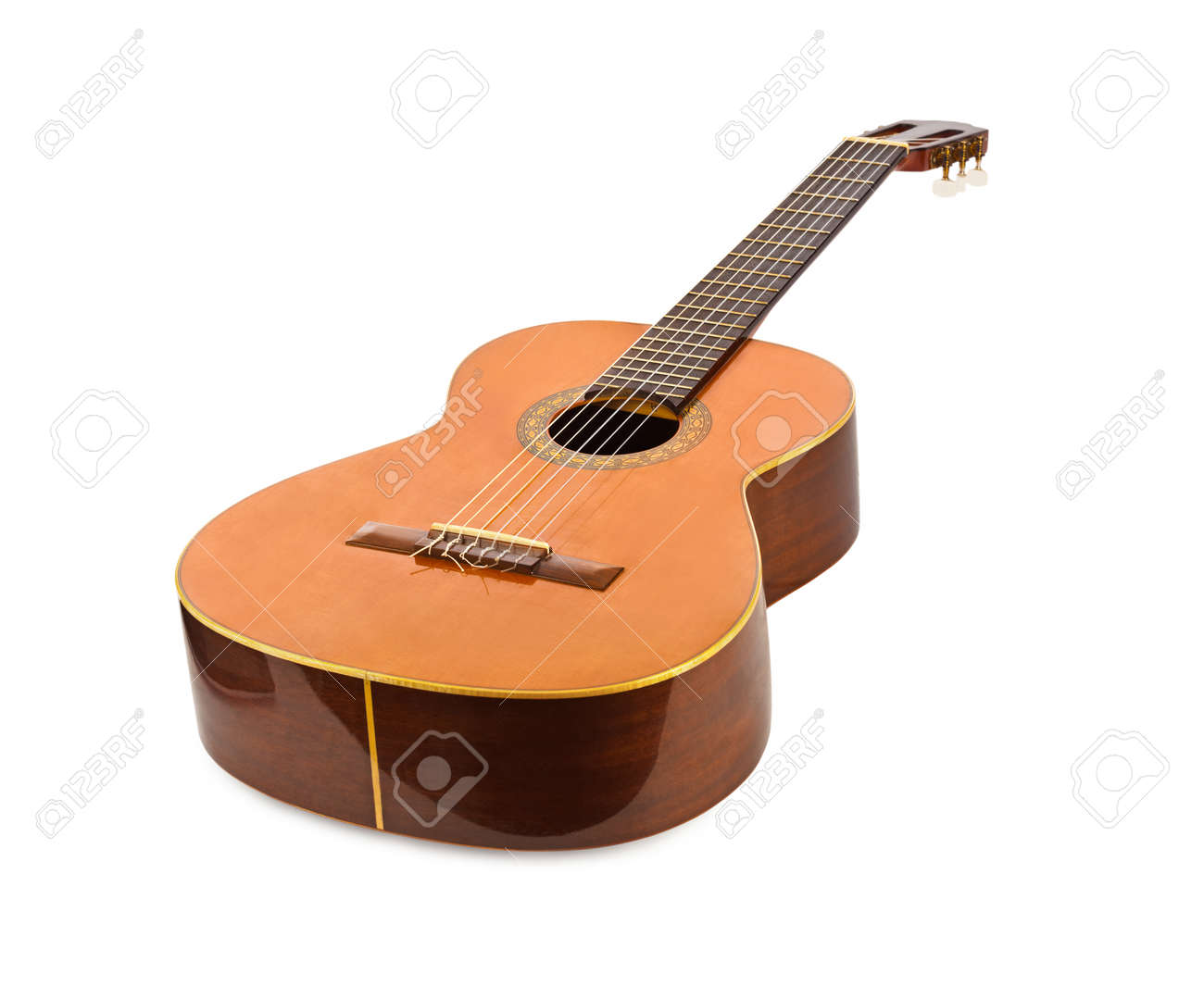 Classical Acoustic Guitar Isolated On White Background Stock Photo