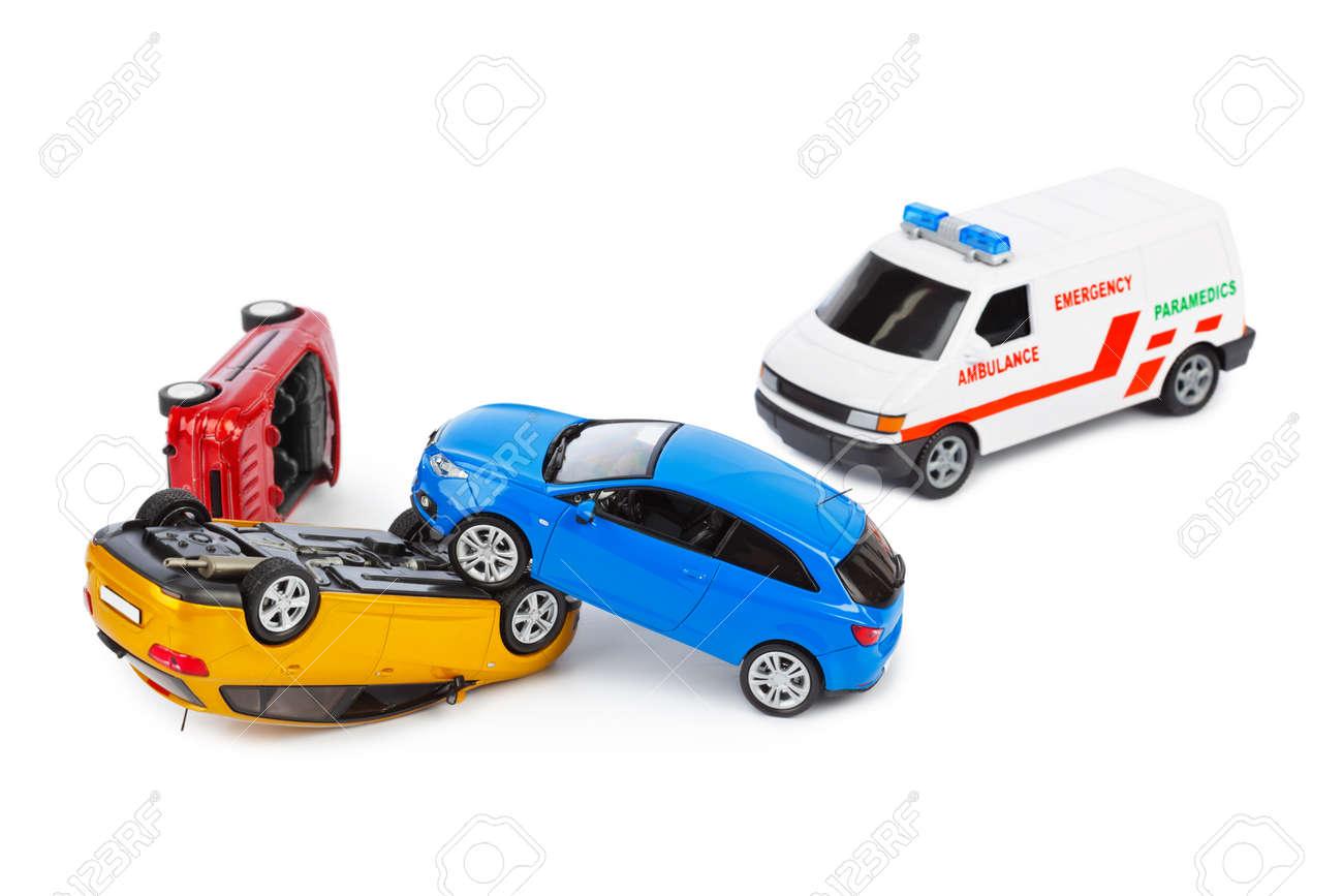 Crash toy cars and ambulance car isolated on white background - 40592339
