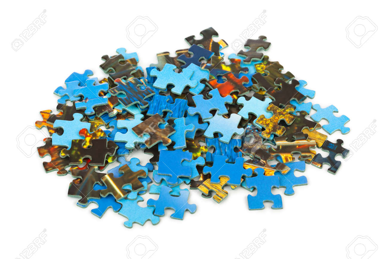 Pieces of puzzle isolated on white background - 40921653