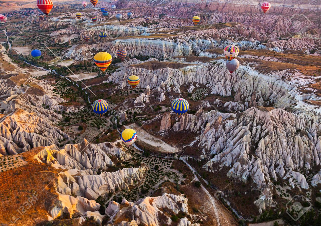 Hot air balloon flying over rock landscape at Cappadocia Turkey - 41129020