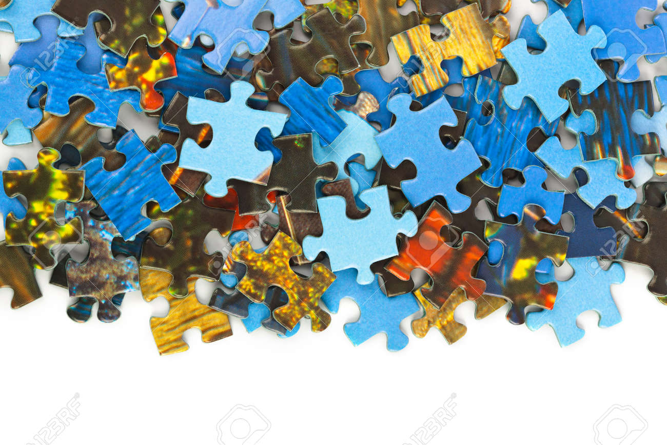 Pieces of puzzle isolated on white background - 41454910