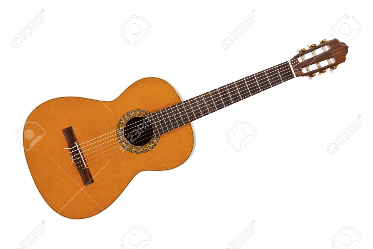 Classical acoustic guitar isolated on white background - 41812441