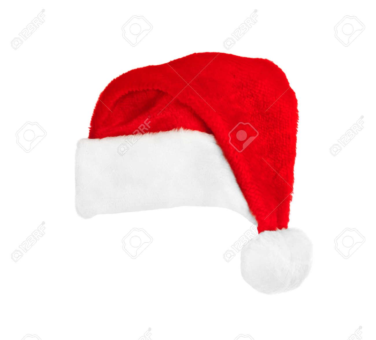 Père Noël Chapeau Rouge De Noël Isolé Sur Fond Blanc