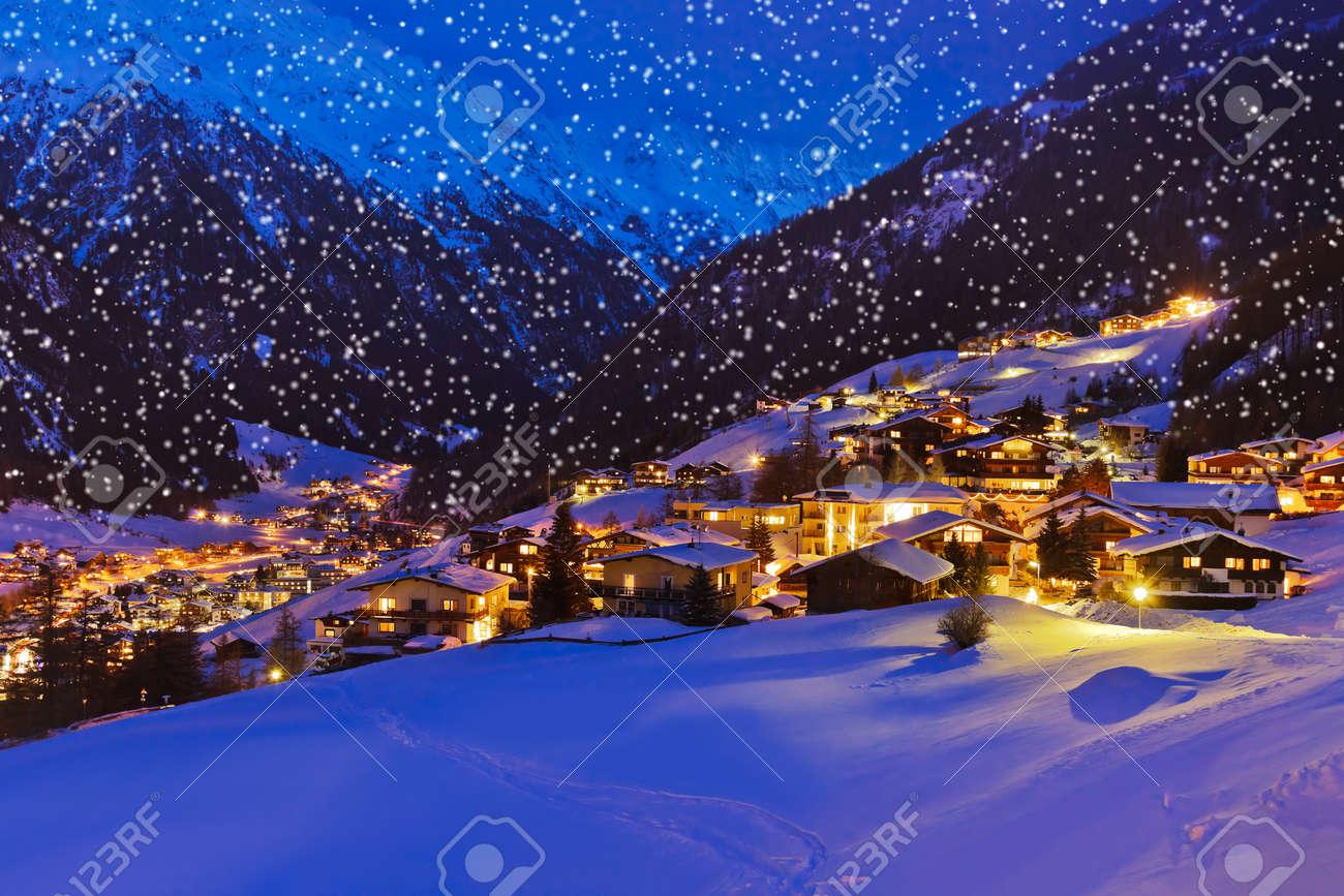 Mountains ski resort Solden Austria - nature and architecture background - 48419791