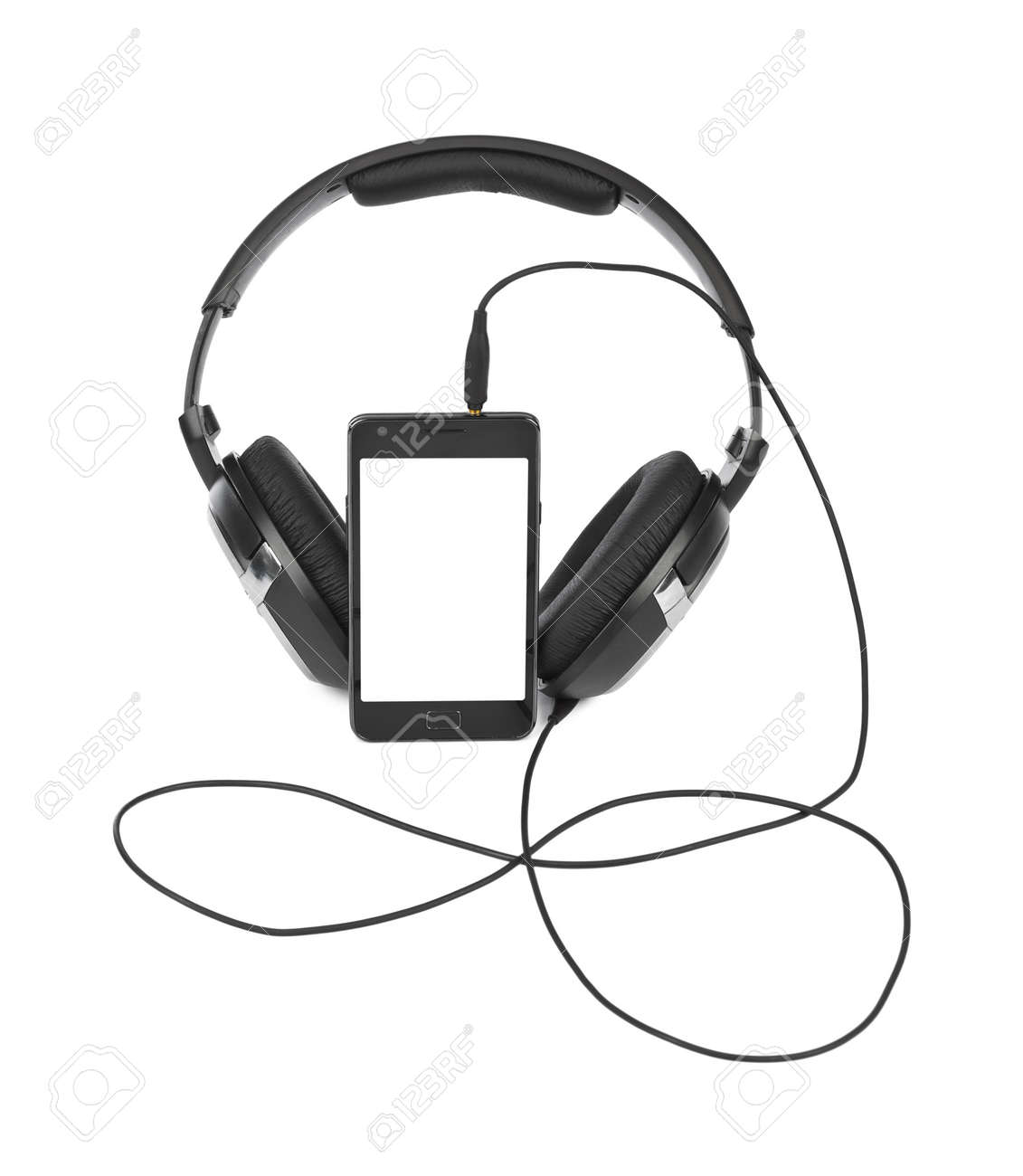 Mobile Phone And Headphones Isolated On White Background Stock Photo Picture And Royalty Free Image Image 48850534