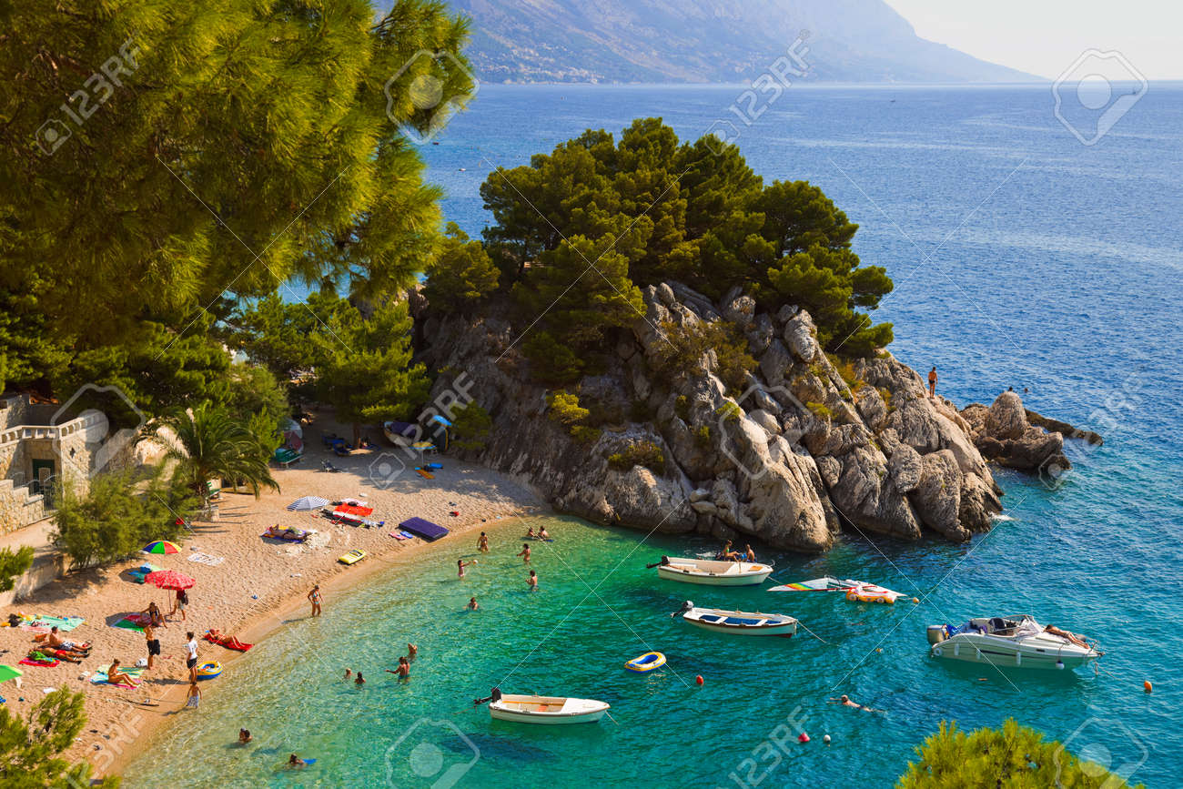 Beach at Brela, Croatia - resort travel background - 57933143