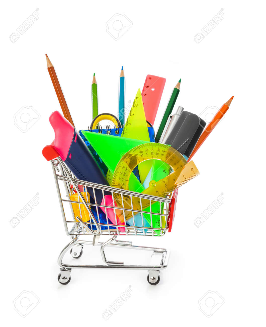 Stationery in shopping cart isolated on white background - 120211557