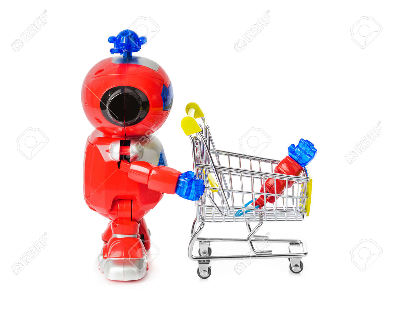 Toy robot and shopping cart with hand isolated on white background - 120312939