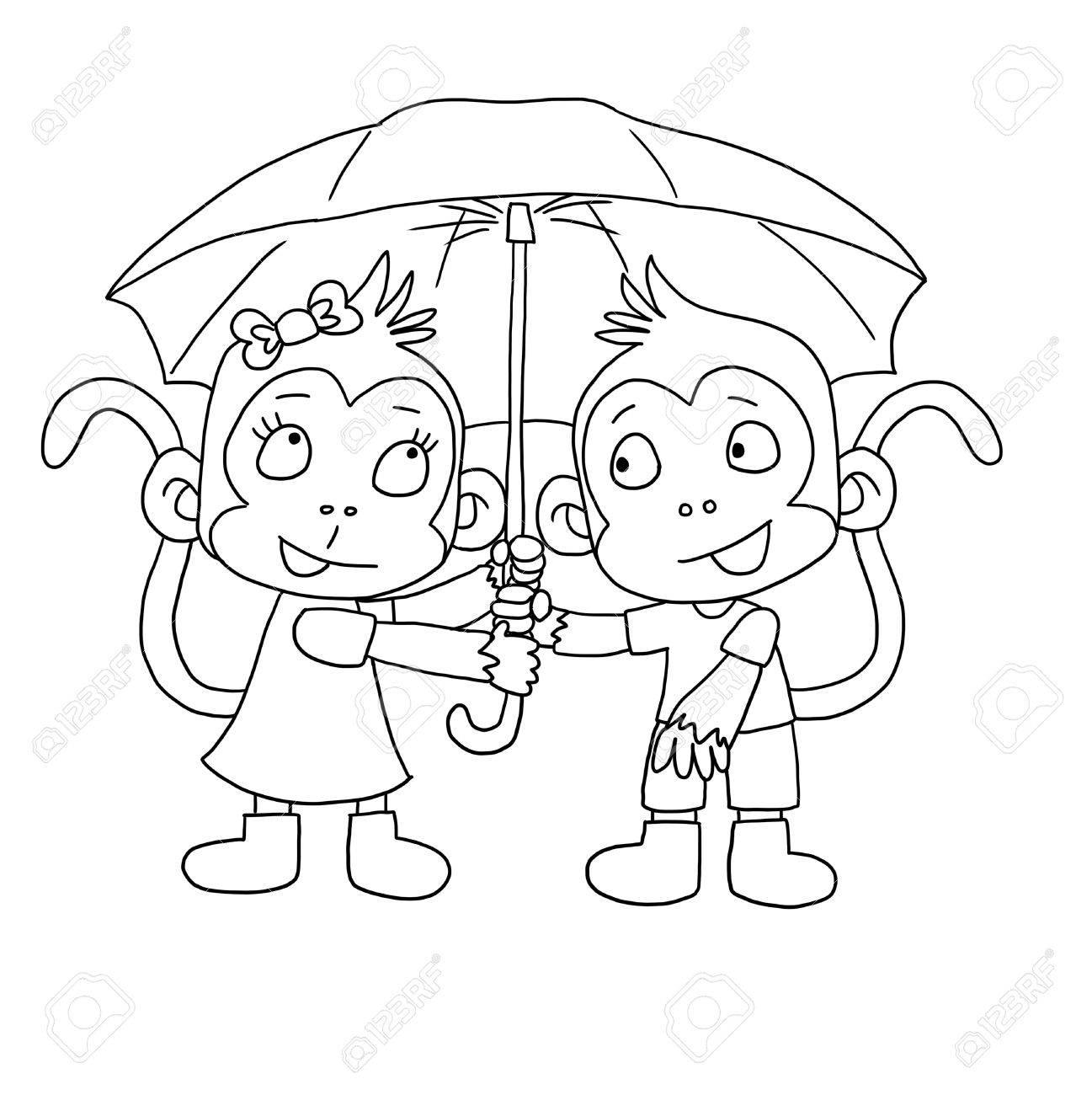 Cute monkeys hiding under an umbrella - coloring page