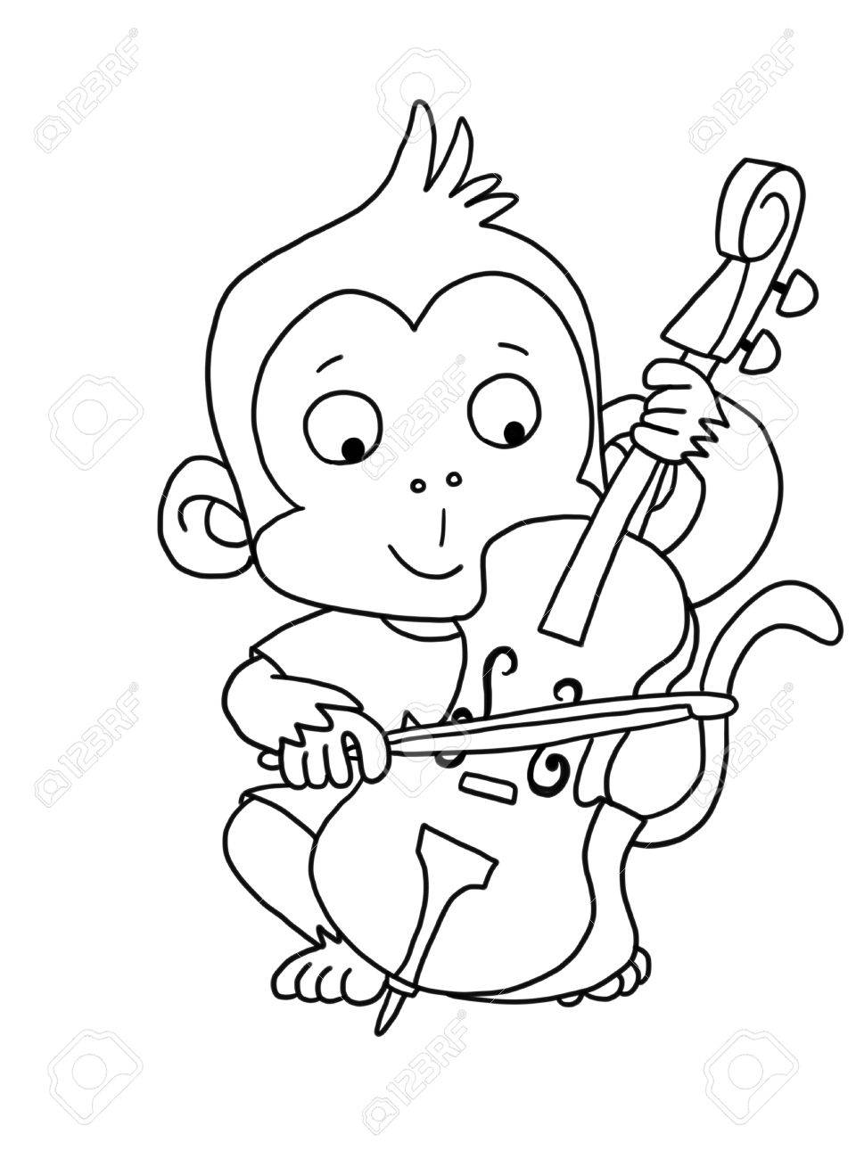 Cute Boy Monkey With Cello - Coloring Page Stock Photo, Picture And ...