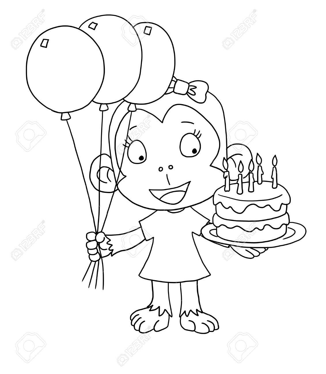 Happy Birthday Monkey - Coloring Page Stock Photo, Picture And ...