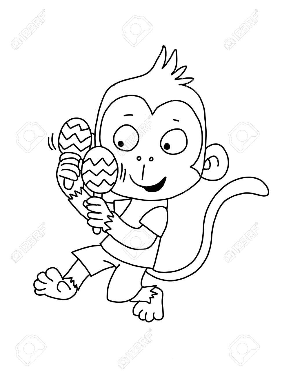 Cute Monkey With Maracas - Coloring Page Stock Photo, Picture And ...