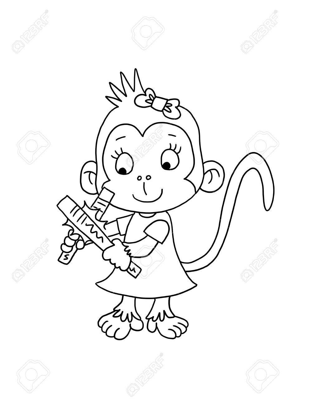 Netter Affe Mädchen Mit Clap Sticks - Malvorlagen Lizenzfreie Fotos ...