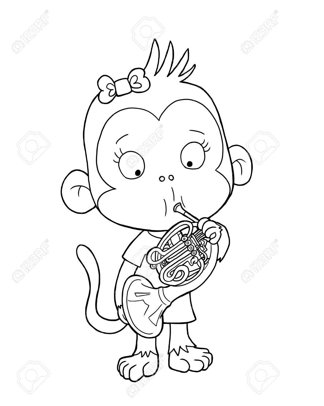 cute monkey playing french horn coloring page stock photo