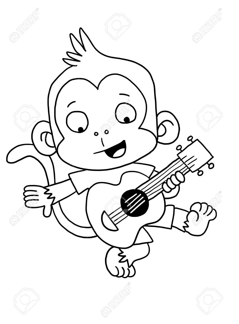 Cute Guitar Monkey - Coloring Page Stock Photo, Picture And Royalty ...