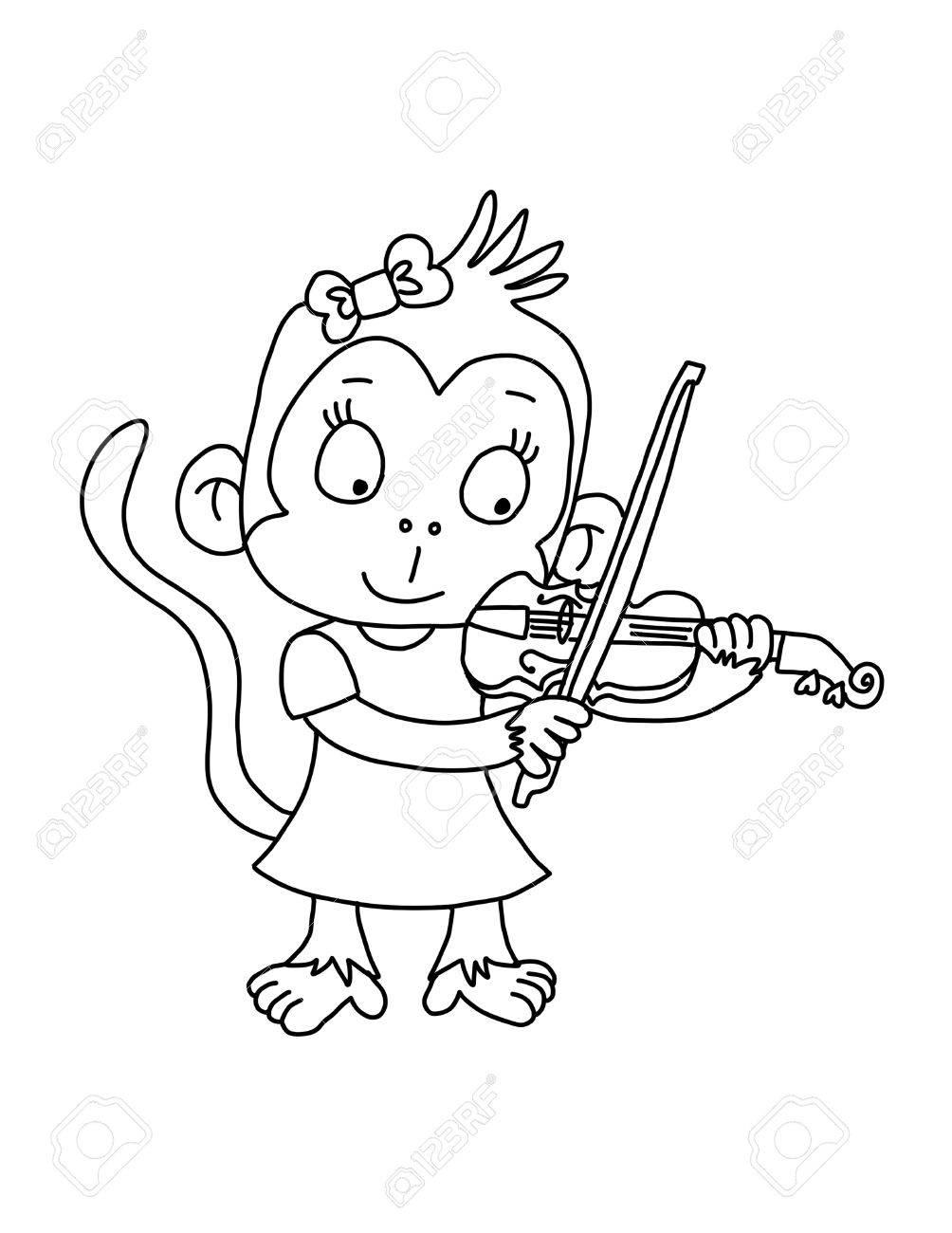 Nettes Affe Mädchen Spielen Violine - Malvorlage Lizenzfreie Fotos ...