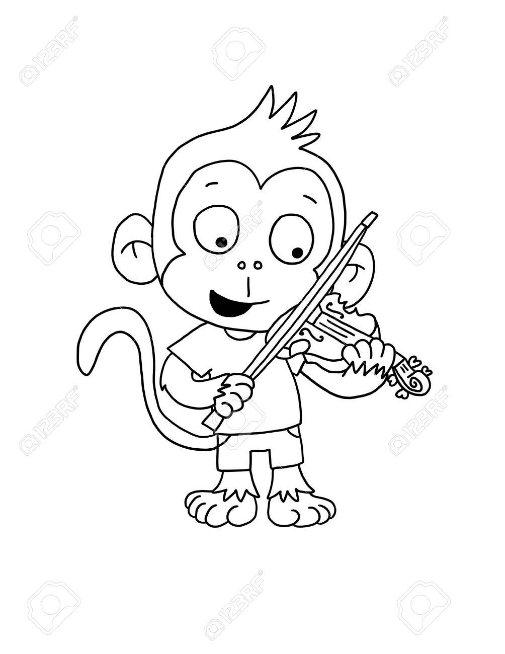 Cute Monkey Boy Playing Violin Coloring Page Stock Photo Picture