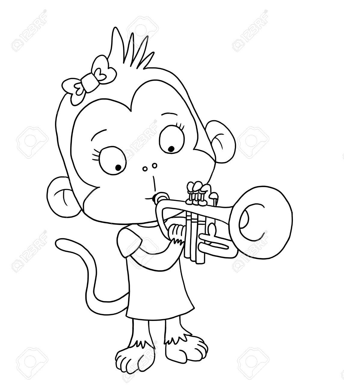Cute Monkey Playing Trumpet Coloring Page Stock Photo Picture And