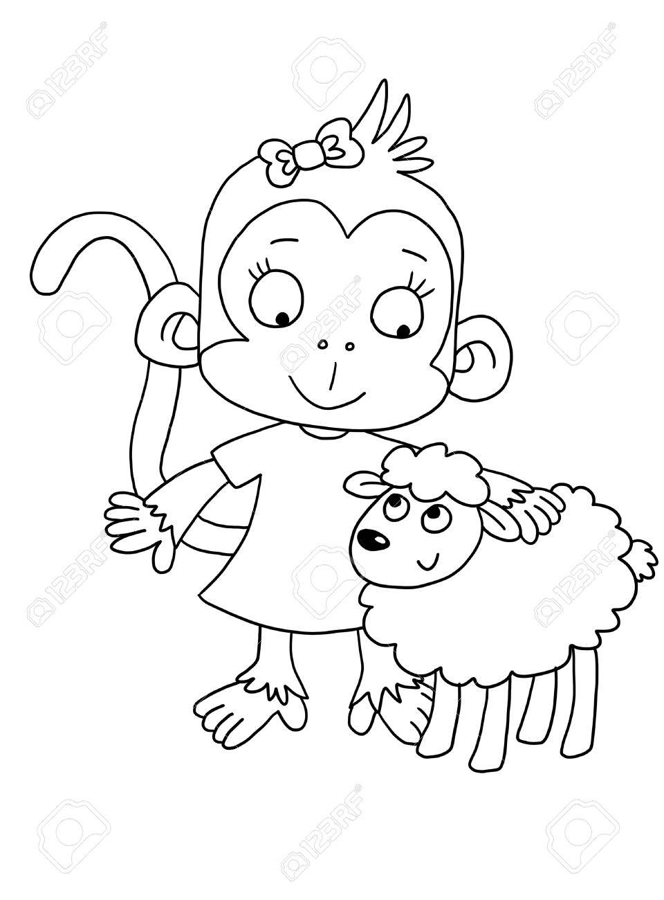 Cute monkey with lamb coloring page