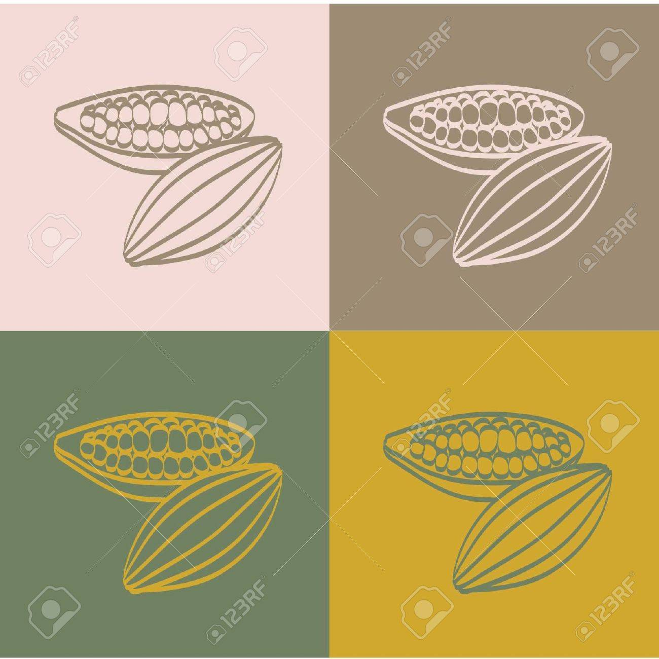 Cocoa beans on a color  background Stock Vector - 12828305