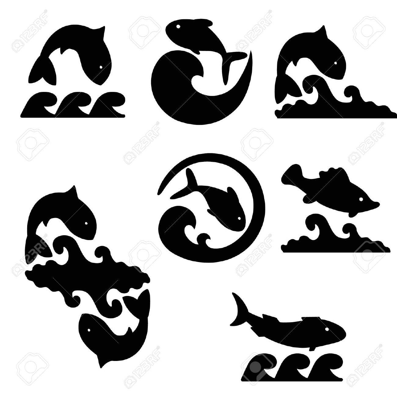 Sketches of fish and waves on a white background Stock Vector - 13594703