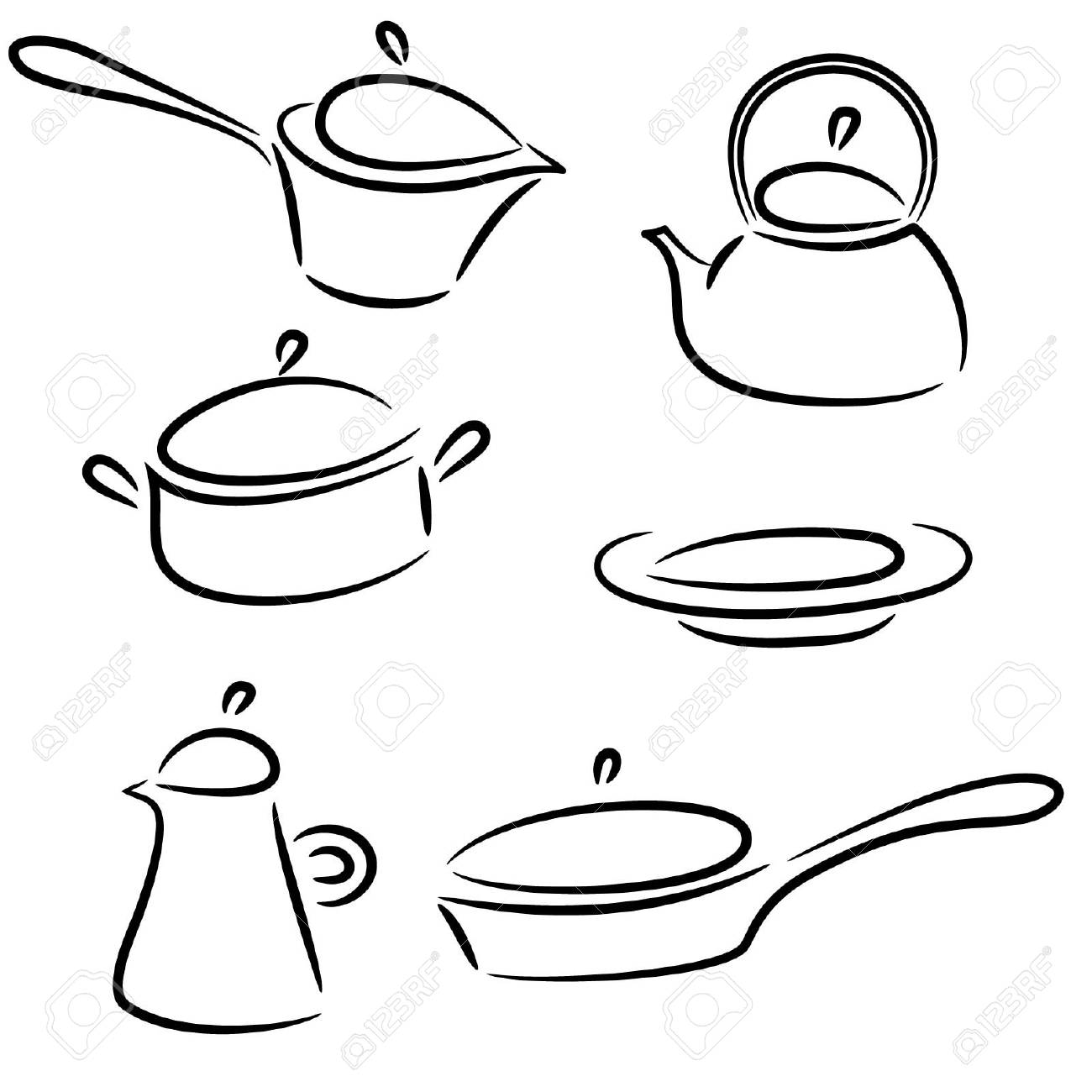 illustration with collection of ware isolated on white background Stock Vector - 14472881
