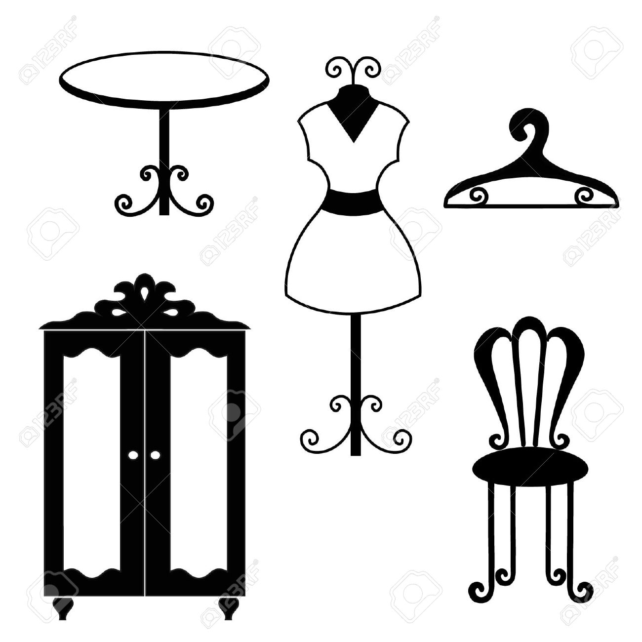 Antique chair silhouette - Antique Furniture Silhouettes Stock Vector 15490585