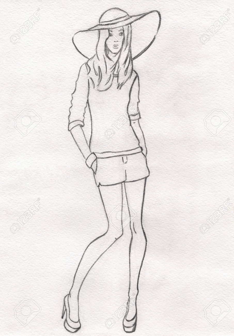 Stock photo the pencil sketch of fashion model in a hat and shorts