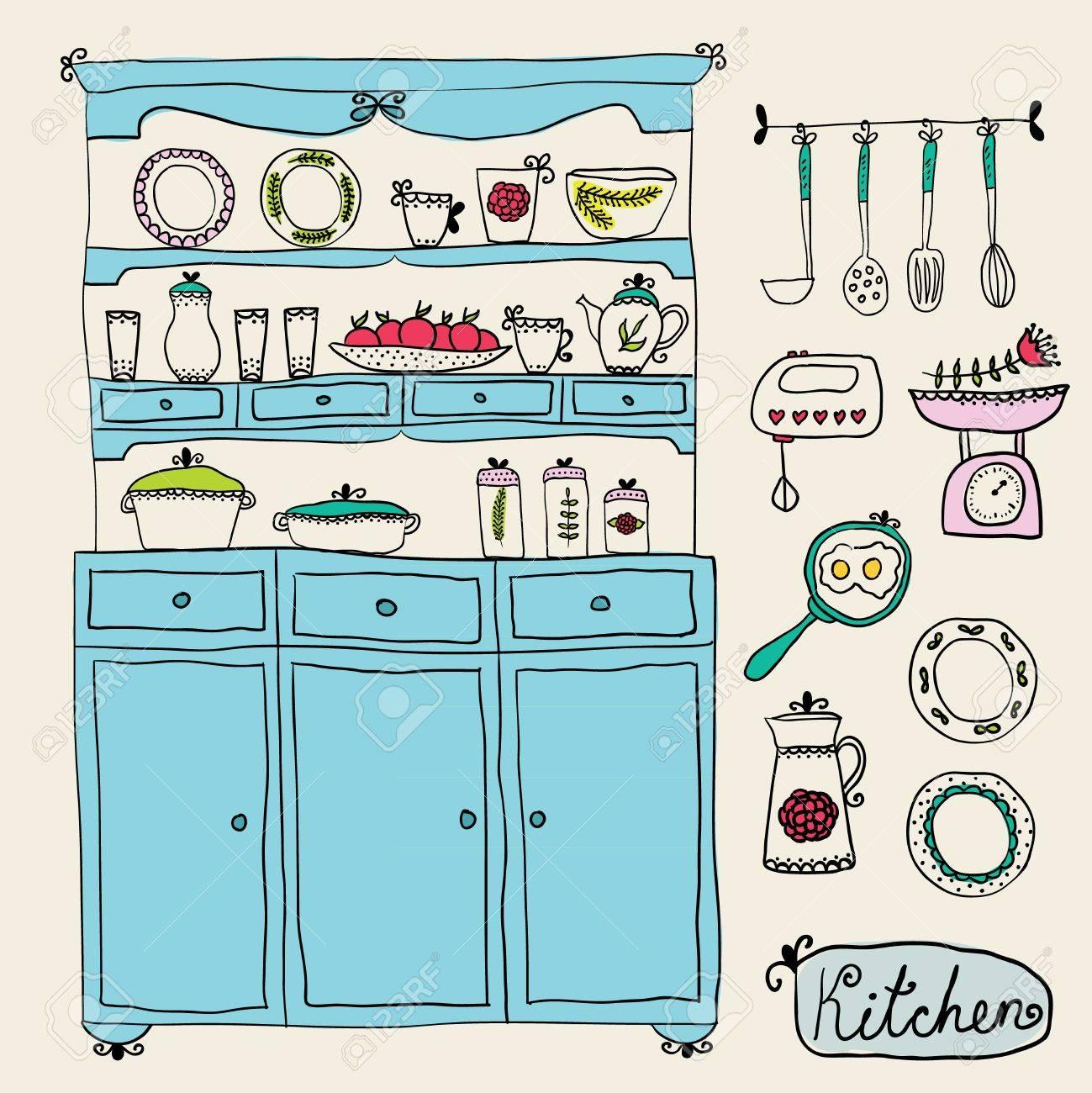 Küche Im Vektor Gesetzt. Design Elemente Küchenschrank ...