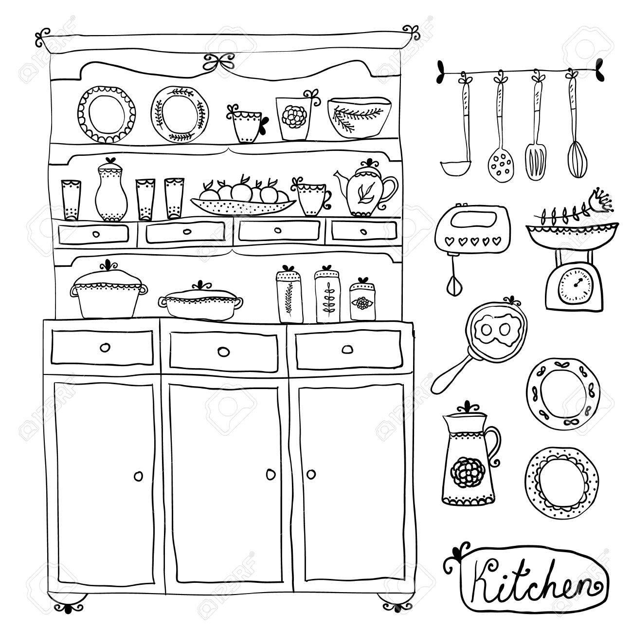 Küche Im Vektor Gesetzt. Design-Elemente: Küchenschrank ...