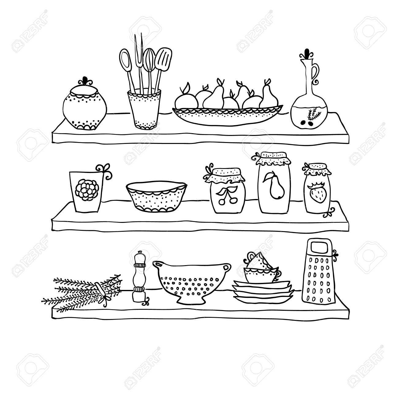 Kitchen Utensils On Shelves Sketch Drawing Stock Vector