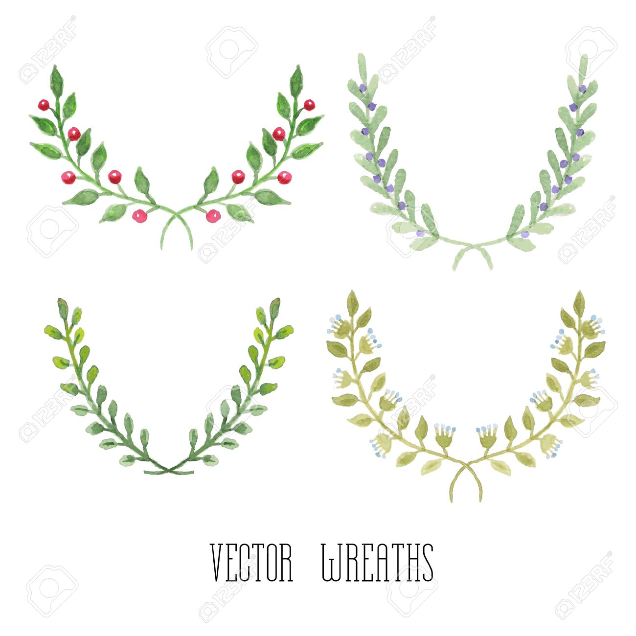 Of Wreaths Watercolor Floral Set Of Wreaths And Laurels Royalty Free Cliparts