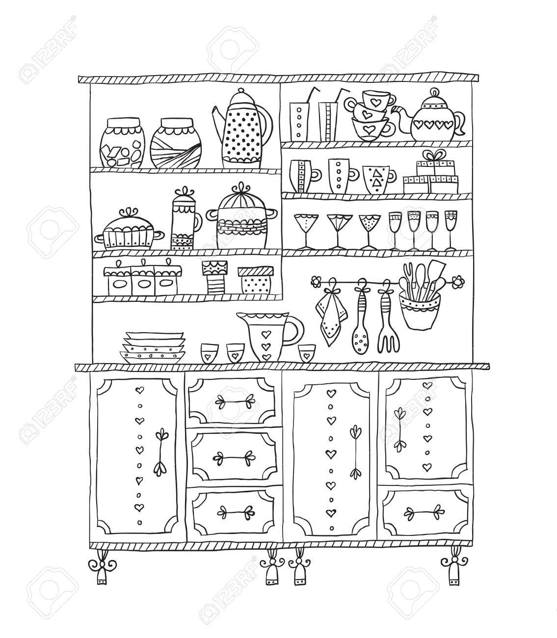 Kitchen Cabinet with various utensils. Design elements of kitchen.