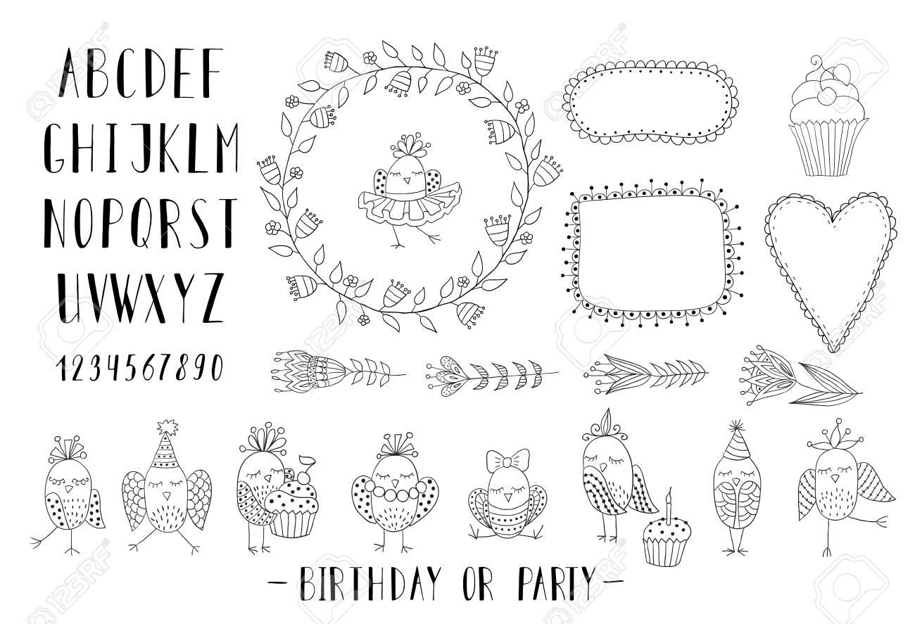 Elementos Para La Creación De Tarjetas De Felicitación Invitaciones Para El Cumpleaños O Una Fiesta Con Los Marcos Flores Fuente Y Aves En Blanco