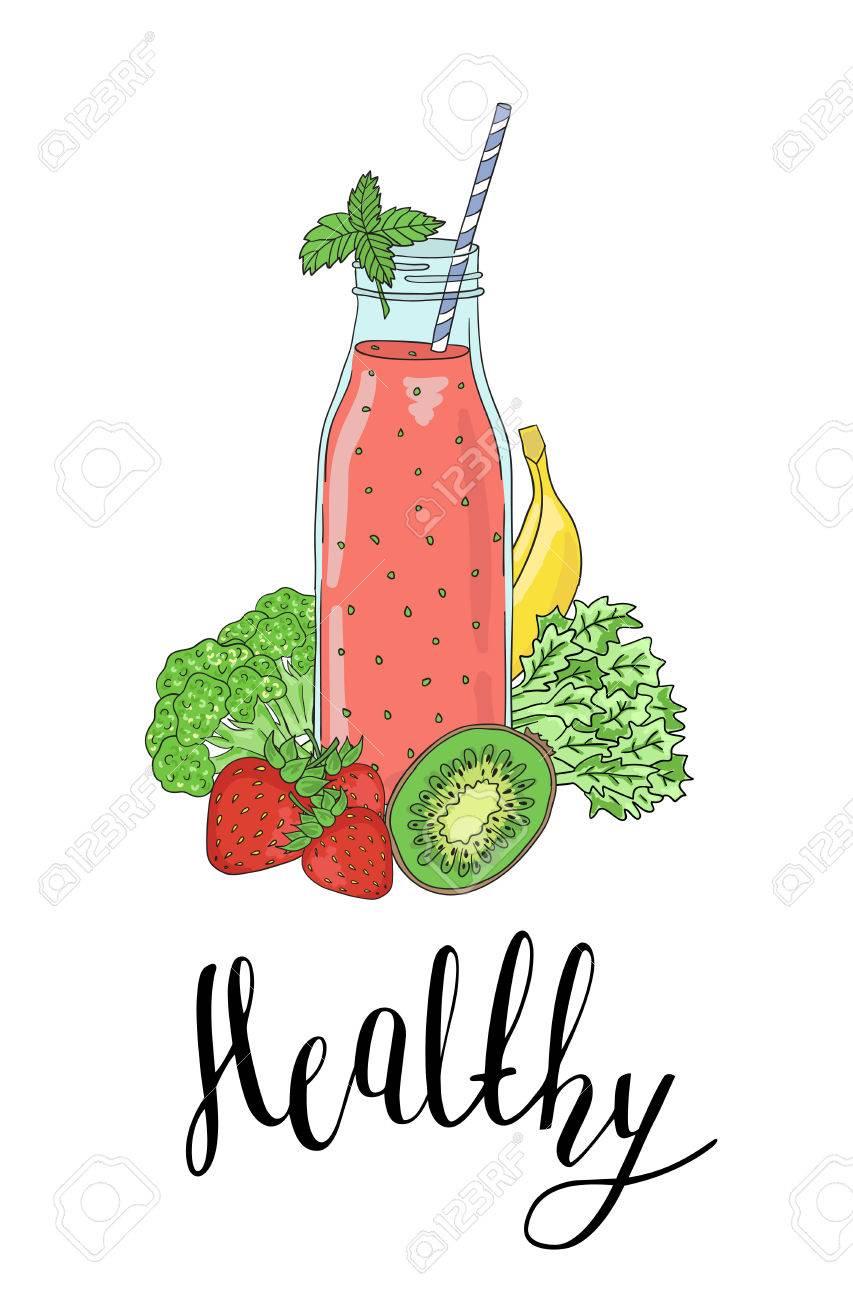 Botella Con Batidos De Frutas Verduras Y La Frase De Un Saludable Detox La Alimentación Saludable Todos Los Elementos Son Atraídos Por Completo Y